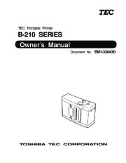 Toshiba TEC B-210 EM1-33043D Portable Printer Owners Manual page 1
