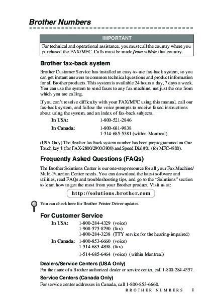Brother FAX-2800 FAX-2900 FAX-3800 MFC-4800 Users Guide Manual