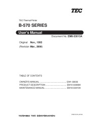 Toshiba B-570 Thermal Printer Owners Manual page 1