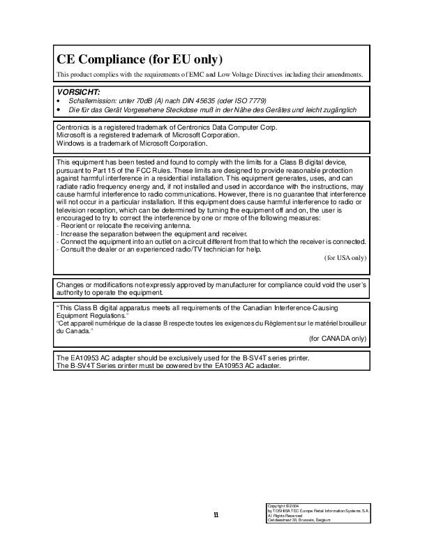 Toshiba TEC B-SV4T-GS10-QM Label Printer Owners Manual