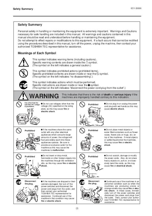 Toshiba TEC B-450-QQ Printer Owners Manual